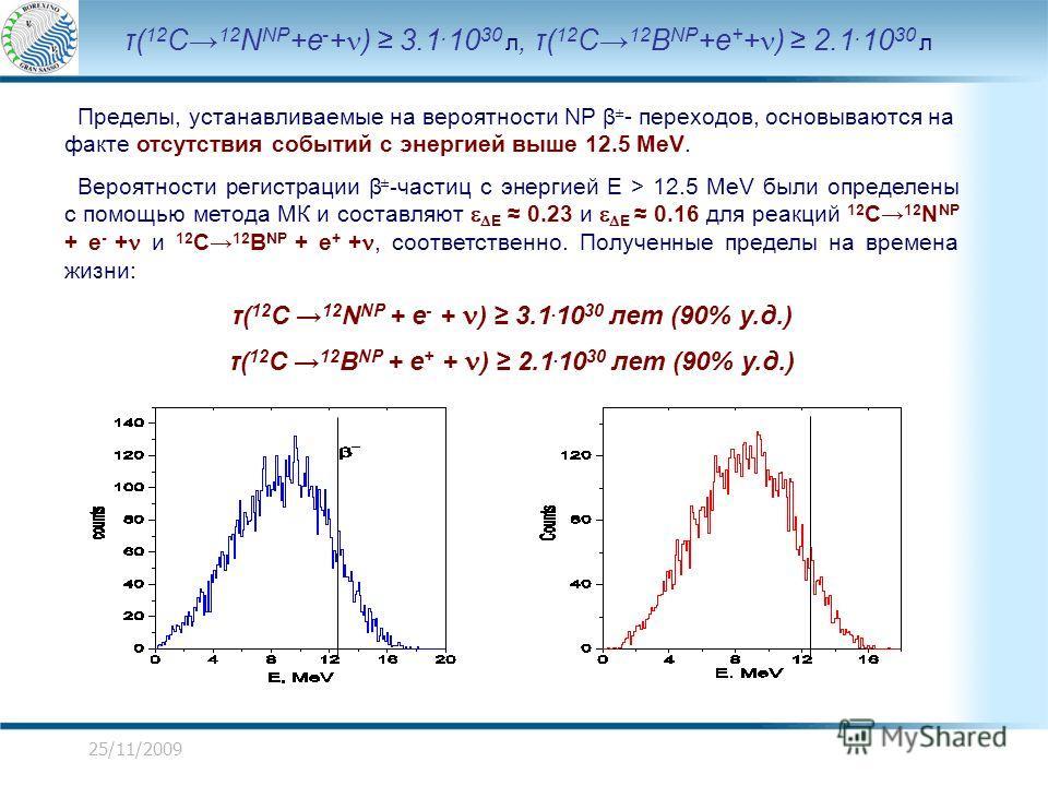 25/11/2009 τ( 12 C 12 N NP +e - + ) 3.1. 10 30 л, τ( 12 C 12 B NP +e + + ) 2.1. 10 30 л Пределы, устанавливаемые на вероятности NP β ± - переходов, основываются на факте отсутствия событий с энергией выше 12.5 MeV. Вероятности регистрации β ± - части