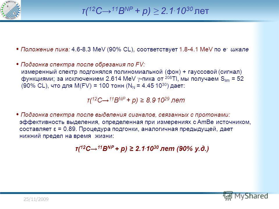25/11/2009 τ( 12 C 11 B NP + p) 2.1. 10 30 лет Положение пика: 4.6-8.3 MeV (90% CL), соответствует 1.8-4.1 MeV по e - шкале Подгонка спектра после обрезания по FV: измеренный спектр подгонялся полиномиальной (фон) + гауссовой (сигнал) функциями; за и