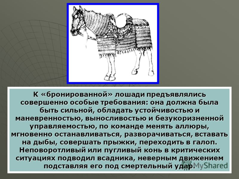 К «бронированной» лошади предъявлялись совершенно особые требования: она должна была быть сильной, обладать устойчивостью и маневренностью, выносливостью и безукоризненной управляемостью, по команде менять аллюры, мгновенно останавливаться, разворачи
