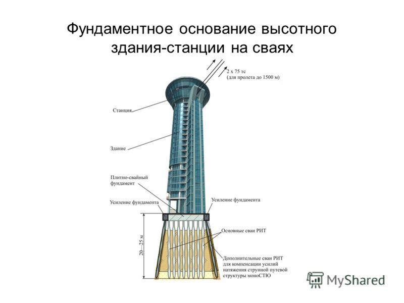 Фундаментное основание высотного здания-станции на сваях