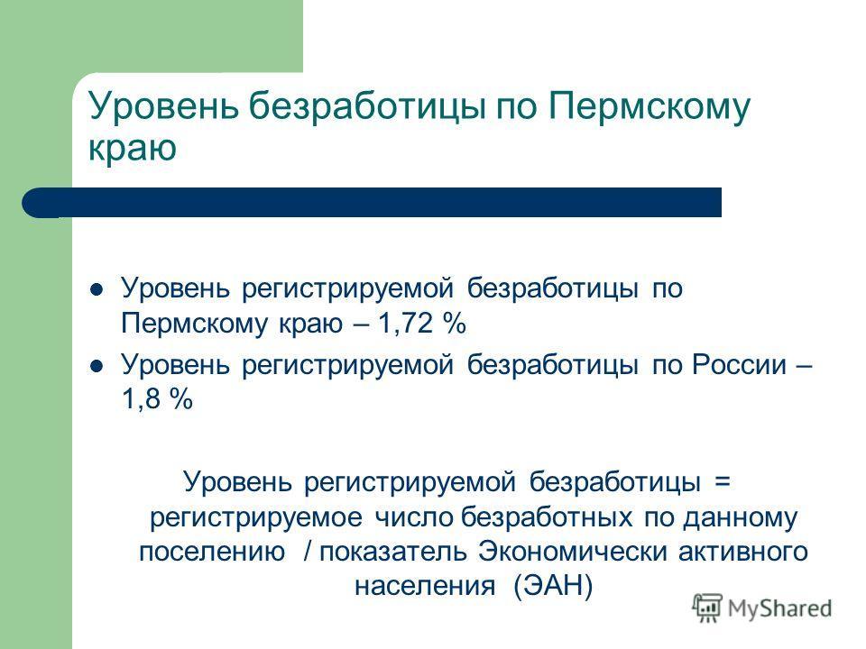 Уровень безработицы по Пермскому краю Уровень регистрируемой безработицы по Пермскому краю – 1,72 % Уровень регистрируемой безработицы по России – 1,8 % Уровень регистрируемой безработицы = регистрируемое число безработных по данному поселению / пока