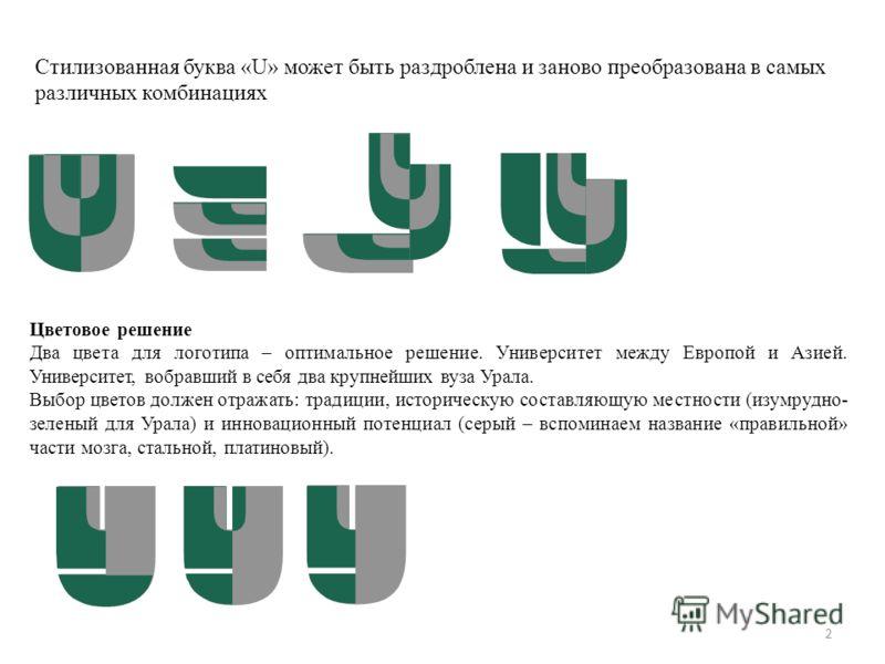 Цветовое решение Два цвета для логотипа – оптимальное решение. Университет между Европой и Азией. Университет, вобравший в себя два крупнейших вуза Урала. Выбор цветов должен отражать: традиции, историческую составляющую местности (изумрудно- зеленый