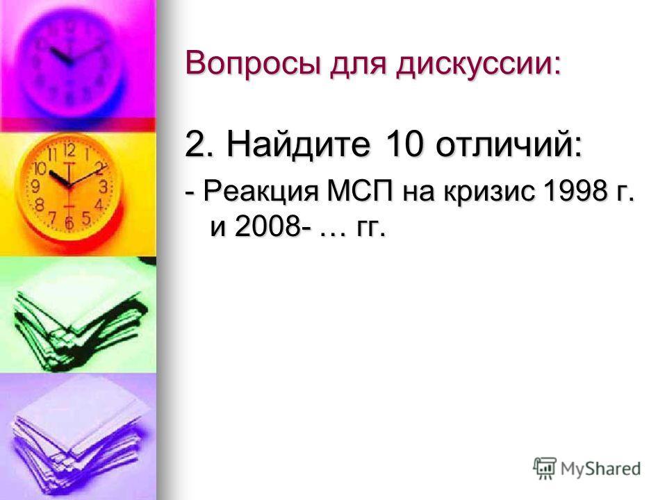 Вопросы для дискуссии: 2. Найдите 10 отличий: - Реакция МСП на кризис 1998 г. и 2008- … гг.