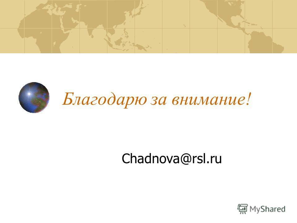 Благодарю за внимание! Chadnova@rsl.ru