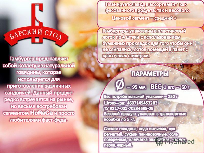 Гамбургеры ТМ «Барский стол»
