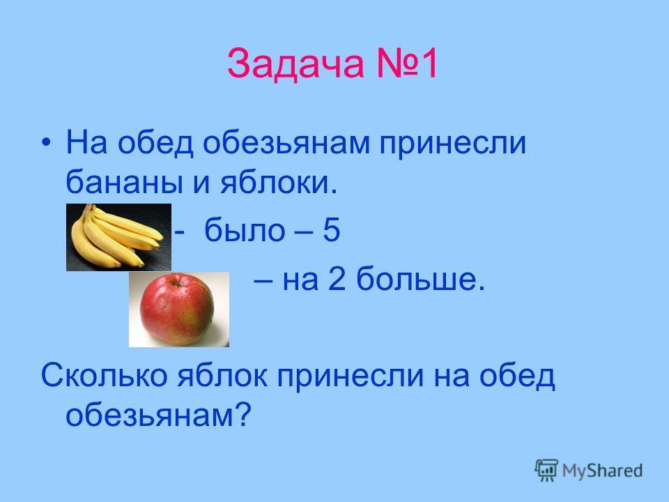 Задача 1 На обед обезьянам принесли бананы и яблоки. - было – 5 – на 2 больше. Сколько яблок принесли на обед обезьянам?