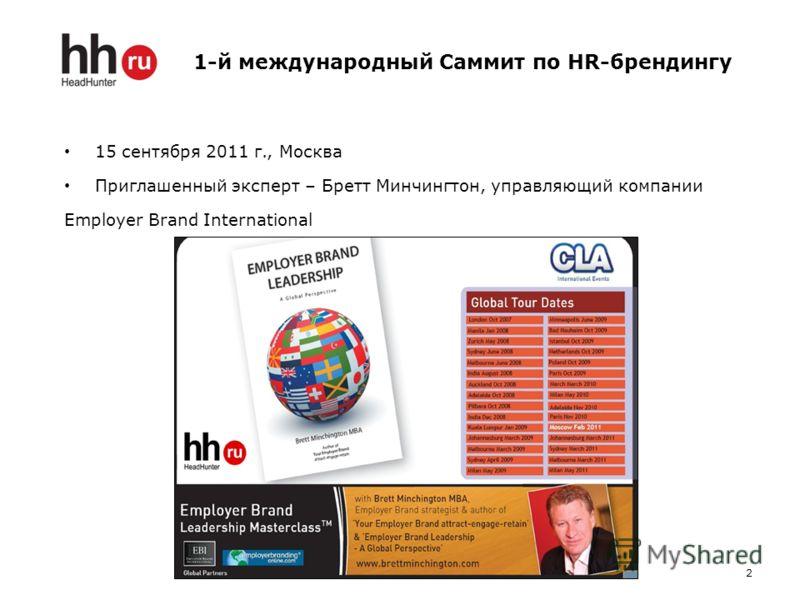 1-й международный Саммит по HR-брендингу 15 сентября 2011 г., Москва Приглашенный эксперт – Бретт Минчингтон, управляющий компании Employer Brand International 2