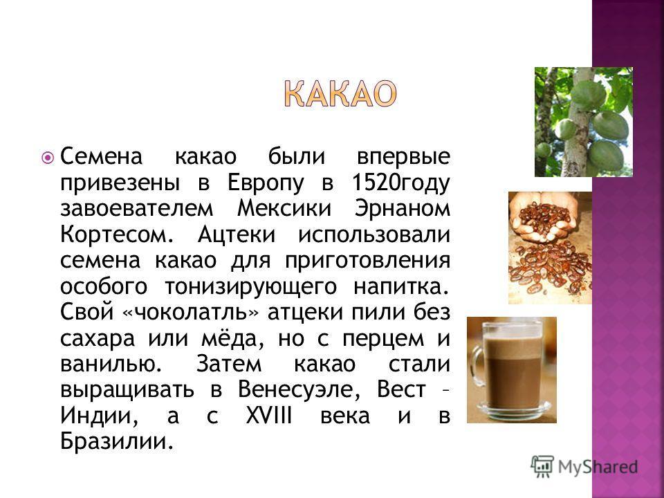 Семена какао были впервые привезены в Европу в 1520году завоевателем Мексики Эрнаном Кортесом. Ацтеки использовали семена какао для приготовления особого тонизирующего напитка. Свой «чоколатль» атцеки пили без сахара или мёда, но с перцем и ванилью.