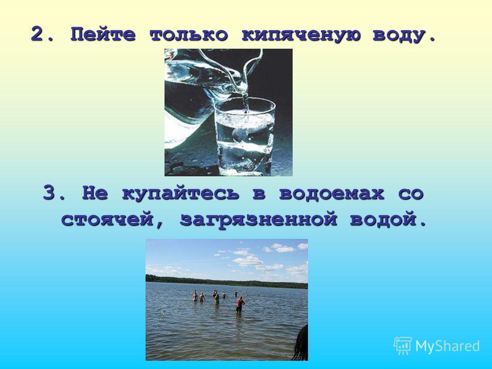 2. Пейте только кипяченую воду. 3. Не купайтесь в водоемах со стоячей, загрязненной водой.