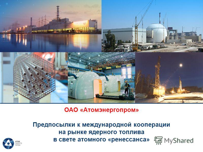 ОАО «Атомэнергопром» Предпосылки к международной кооперации на рынке ядерного топлива в свете атомного «ренессанса»