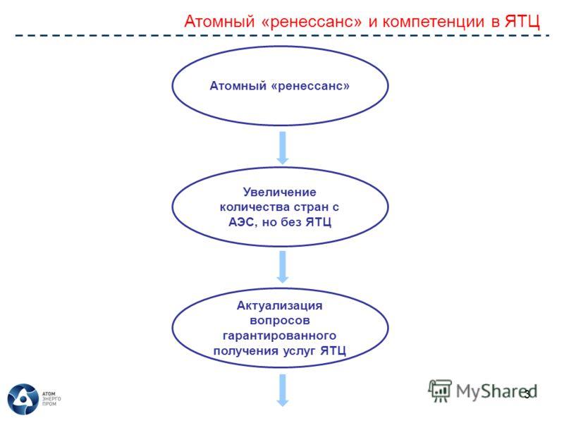 Атомный «ренессанс» и компетенции в ЯТЦ 3 Атомный «ренессанс» Увеличение количества стран с АЭС, но без ЯТЦ Актуализация вопросов гарантированного получения услуг ЯТЦ