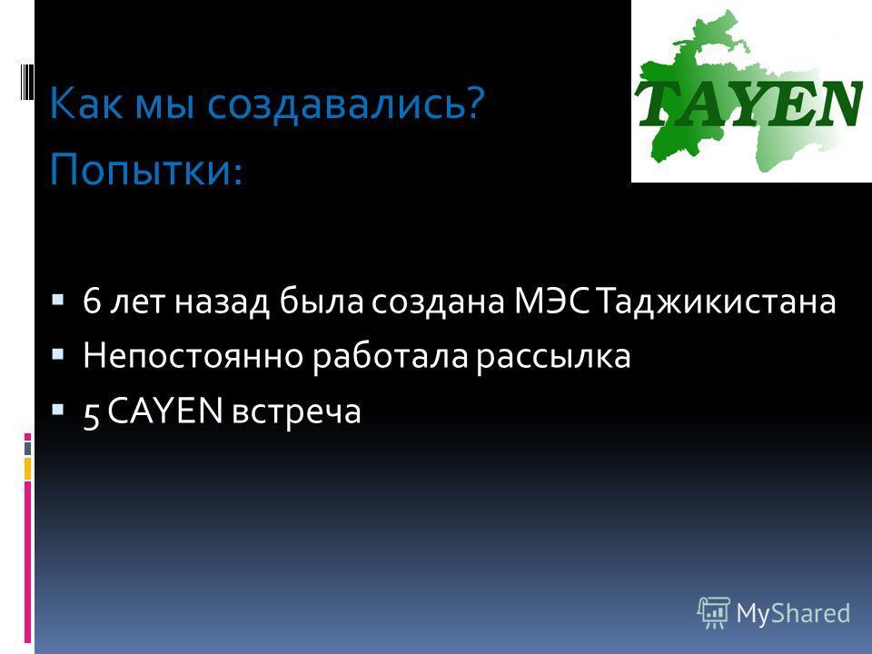 Как мы создавались? Попытки: 6 лет назад была создана МЭС Таджикистана Непостоянно работала рассылка 5 CAYEN встреча