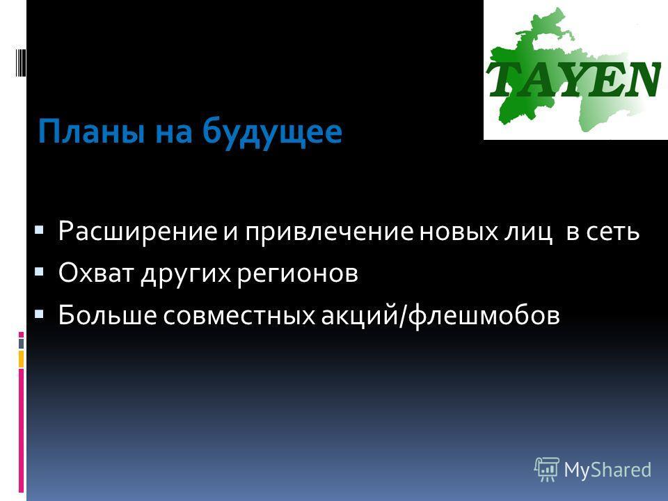 Планы на будущее Расширение и привлечение новых лиц в сеть Охват других регионов Больше совместных акций/флешмобов