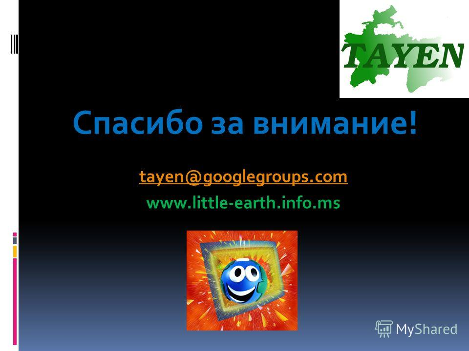 Спасибо за внимание! tayen@googlegroups.com www.little-earth.info.ms