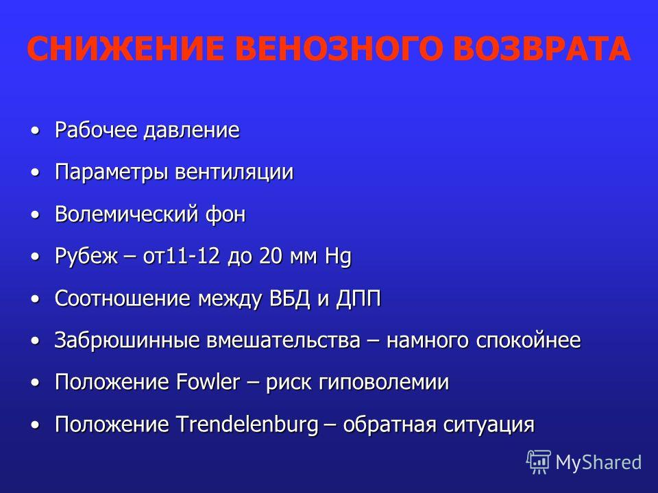 Рабочее давлениеРабочее давление Параметры вентиляцииПараметры вентиляции Волемический фонВолемический фон Рубеж – от11-12 до 20 мм HgРубеж – от11-12 до 20 мм Hg Соотношение между ВБД и ДППСоотношение между ВБД и ДПП Забрюшинные вмешательства – намно