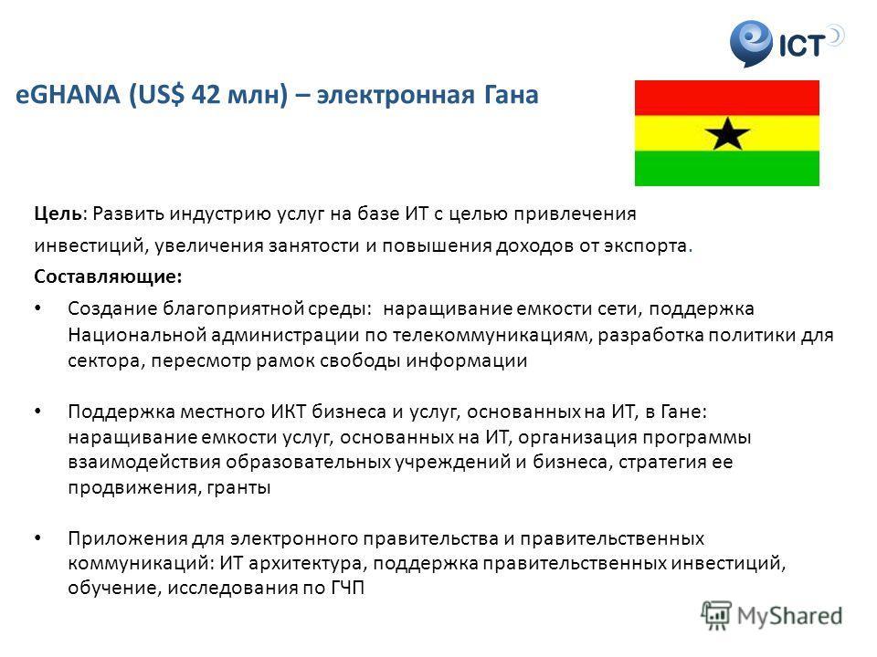 ICT eGHANA (US$ 42 млн) – электронная Гана Цель: Развить индустрию услуг на базе ИТ с целью привлечения инвестиций, увеличения занятости и повышения доходов от экспорта. Составляющие: Создание благоприятной среды: наращивание емкости сети, поддержка