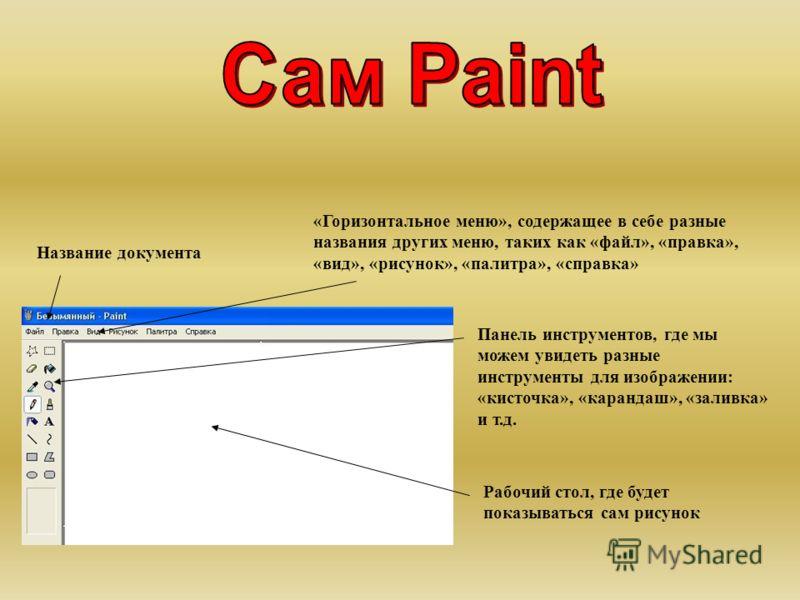 Название документа «Горизонтальное меню», содержащее в себе разные названия других меню, таких как «файл», «правка», «вид», «рисунок», «палитра», «справка» Панель инструментов, где мы можем увидеть разные инструменты для изображении: «кисточка», «кар