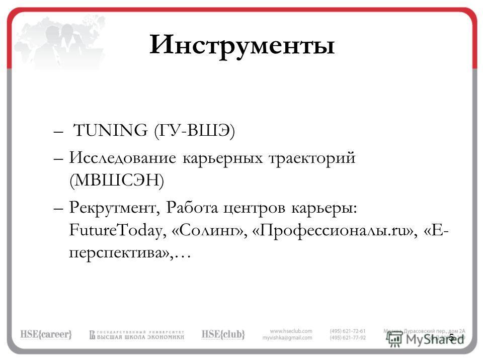 5 Инструменты – TUNING (ГУ-ВШЭ) –Исследование карьерных траекторий (МВШСЭН) –Рекрутмент, Работа центров карьеры: FutureToday, «Солинг», «Профессионалы.ru», «E- перспектива»,…