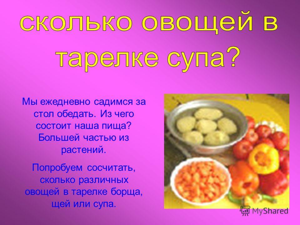 Мы ежедневно садимся за стол обедать. Из чего состоит наша пища? Большей частью из растений. Попробуем сосчитать, сколько различных овощей в тарелке борща, щей или супа.