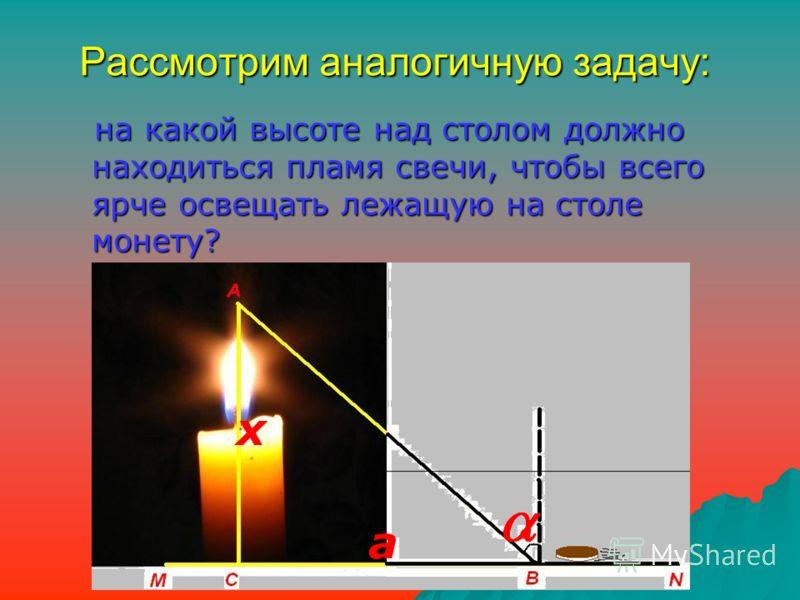 Рассмотрим аналогичную задачу: на какой высоте над столом должно находиться пламя свечи, чтобы всего ярче освещать лежащую на столе монету? на какой высоте над столом должно находиться пламя свечи, чтобы всего ярче освещать лежащую на столе монету? а