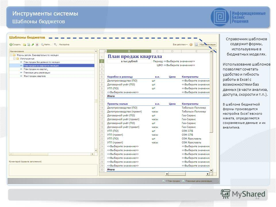 12 Инструменты системы Шаблоны бюджетов Справочник шаблонов содержит формы, используемые в бюджетных моделях. Использование шаблонов позволяет сочетать удобство и гибкость работы в Excel с возможностями баз данных (в части анализа, доступа, скорости