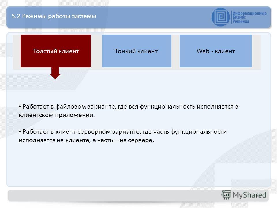 5.2 Режимы работы системы Толстый клиентТонкий клиентWeb - клиент Работает в файловом варианте, где вся функциональность исполняется в клиентском приложении. Работает в клиент-серверном варианте, где часть функциональности исполняется на клиенте, а ч