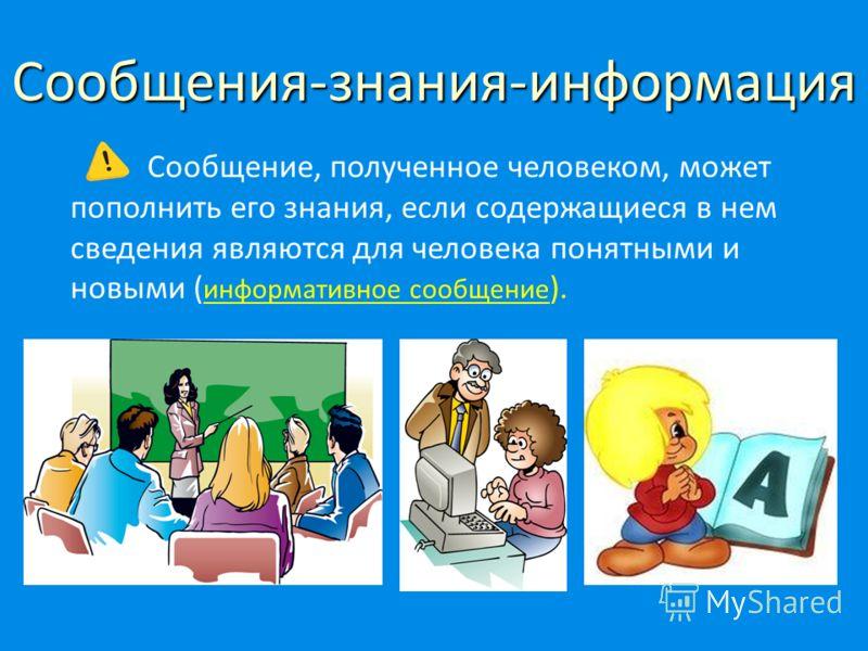 Сообщения-знания-информация Сообщение, полученное человеком, может пополнить его знания, если содержащиеся в нем сведения являются для человека понятными и новыми ( информативное сообщение ).