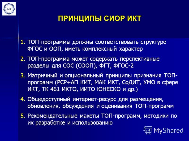 ПРИНЦИПЫ СИОР ИКТ 1.ТОП-программы должны соответствовать структуре ФГОС и ООП, иметь комплексный характер 2.ТОП-программа может содержать перспективные разделы для СОС (СООП), ФГТ, ФГОС-2 3.Матричный и опциональный принципы признания ТОП- программ (Р