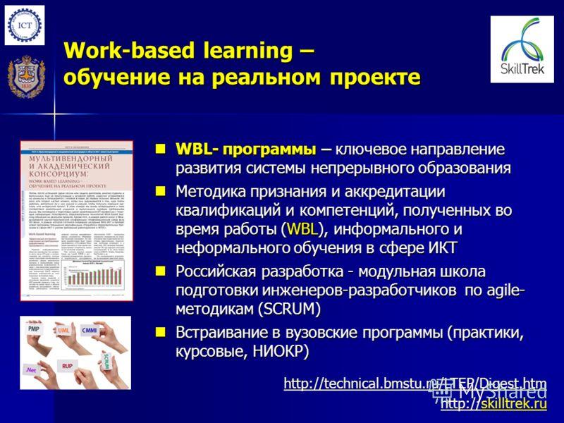 Work-based learning – обучение на реальном проекте WBL- программы – ключевое направление развития системы непрерывного образования WBL- программы – ключевое направление развития системы непрерывного образования Методика признания и аккредитации квали