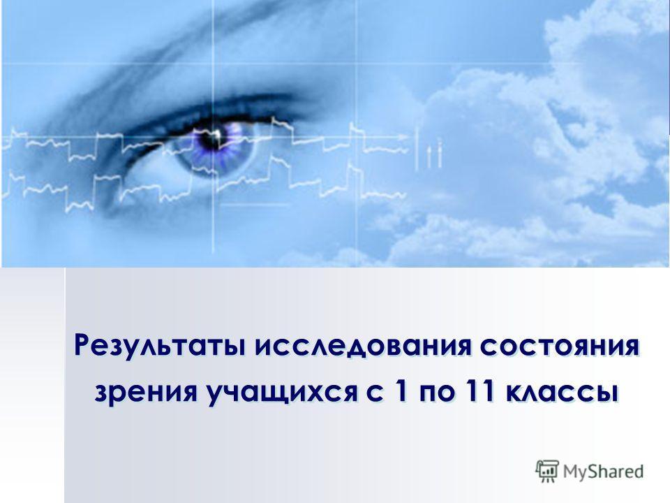 Результаты исследования состояния зрения учащихся с 1 по 11 классы