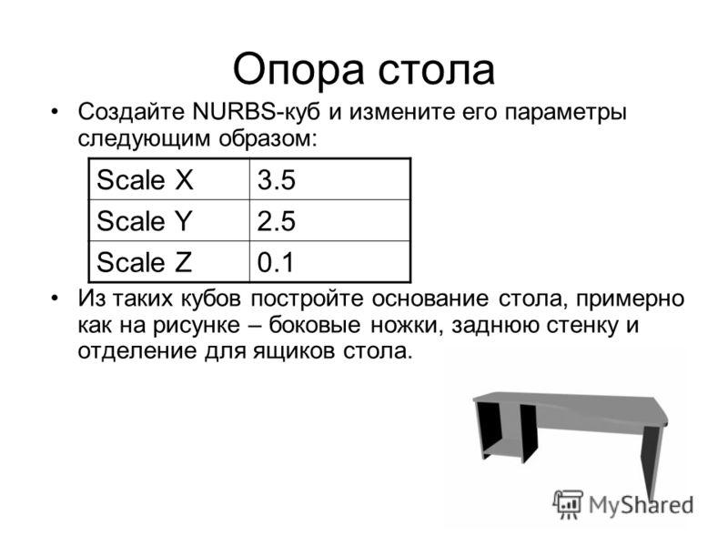 Опора стола Создайте NURBS-куб и измените его параметры следующим образом: Из таких кубов постройте основание стола, примерно как на рисунке – боковые ножки, заднюю стенку и отделение для ящиков стола. Scale X3.5 Scale Y2.5 Scale Z0.1