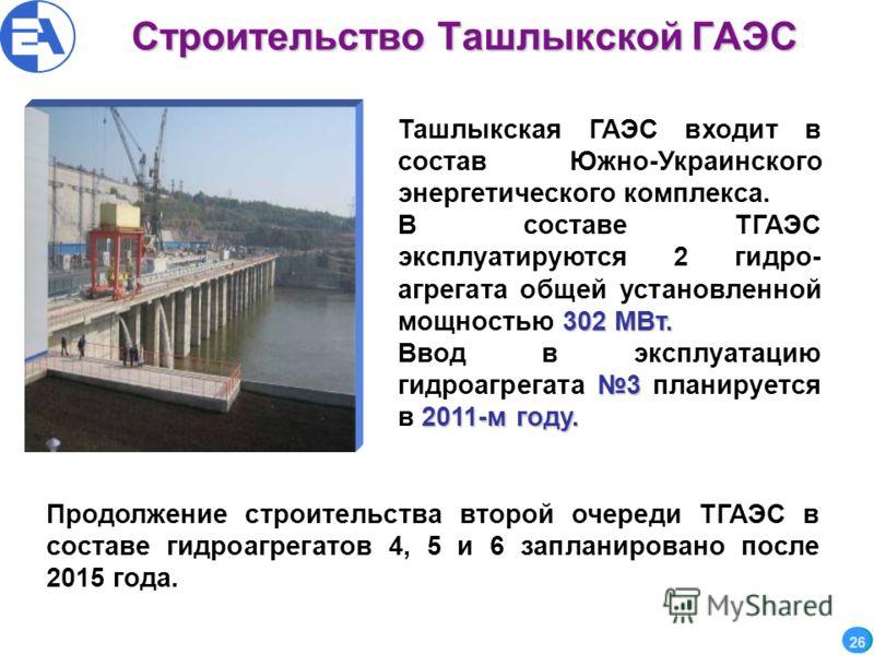 Строительство Ташлыкской ГАЭС 26 Ташлыкская ГАЭС входит в состав Южно-Украинского энергетического комплекса. 302 МВт. В составе ТГАЭС эксплуатируются 2 гидро- агрегата общей установленной мощностью 302 МВт. 3 2011-м году. Ввод в эксплуатацию гидроагр
