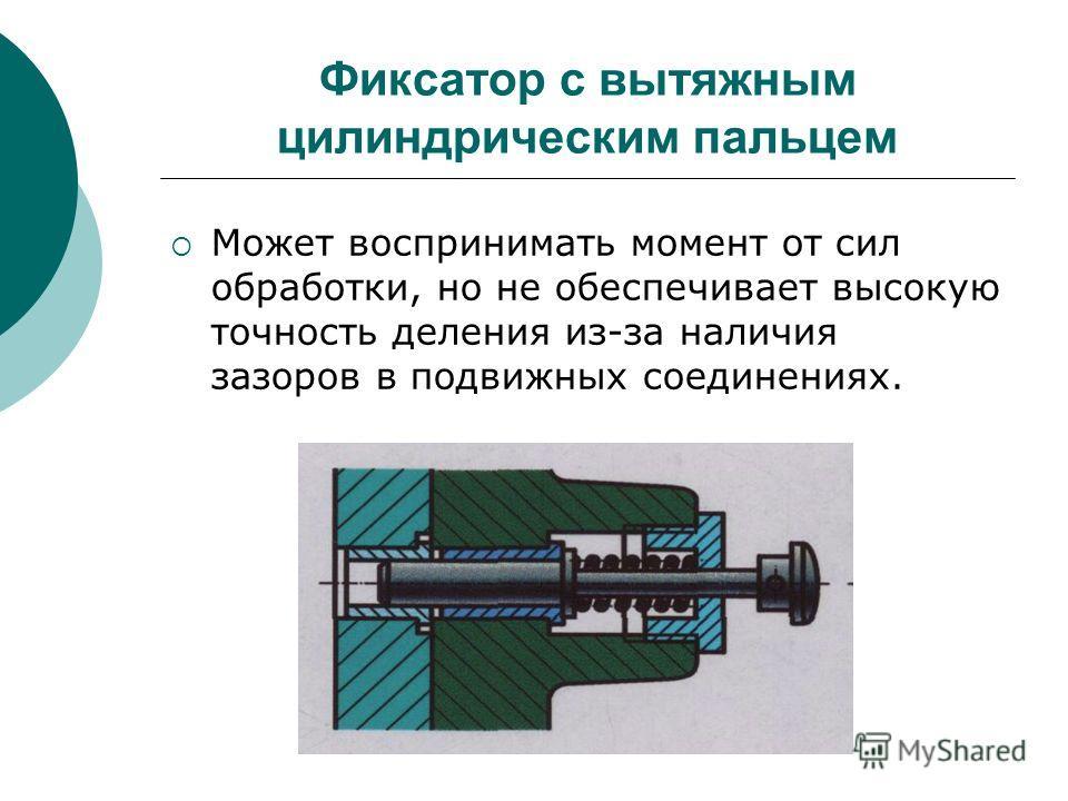 Фиксатор с вытяжным цилиндрическим пальцем Может воспринимать момент от сил обработки, но не обеспечивает высокую точность деления из-за наличия зазоров в подвижных соединениях.