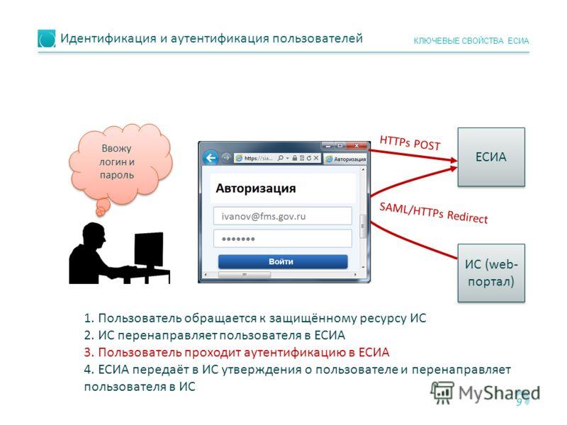 Идентификация и аутентификация пользователей 9 КЛЮЧЕВЫЕ СВОЙСТВА ЕСИА ЕСИА ИС (web- портал) SAML/НTTPs Redirect НTTPs POST 1. Пользователь обращается к защищённому ресурсу ИС 2. ИС перенаправляет пользователя в ЕСИА 3. Пользователь проходит аутентифи
