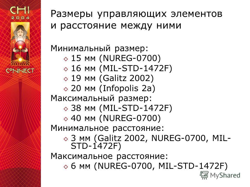 Размеры управляющих элементов и расстояние между ними Минимальный размер: 15 мм (NUREG-0700) 16 мм (MIL-STD-1472F) 19 мм (Galitz 2002) 20 мм (Infopolis 2a) Максимальный размер: 38 мм (MIL-STD-1472F) 40 мм (NUREG-0700) Минимальное расстояние: 3 мм (Ga