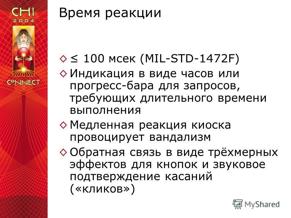 Время реакции 100 мсек (MIL-STD-1472F) Индикация в виде часов или прогресс-бара для запросов, требующих длительного времени выполнения Медленная реакция киоска провоцирует вандализм Обратная связь в виде трёхмерных эффектов для кнопок и звуковое подт