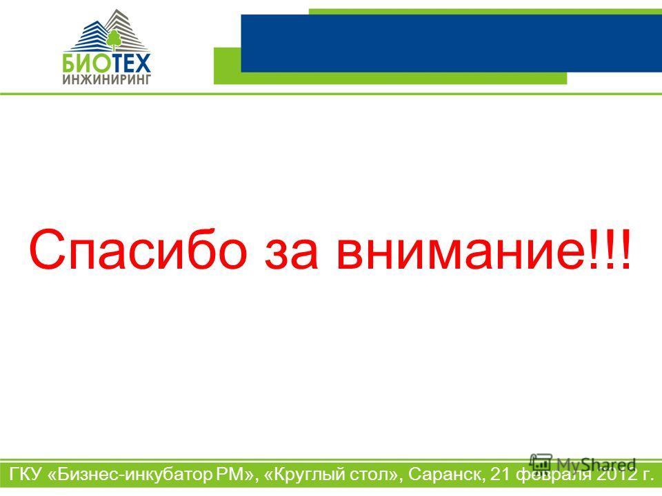 ГКУ «Бизнес-инкубатор РМ», «Круглый стол», Саранск, 21 февраля 2012 г. Спасибо за внимание!!!