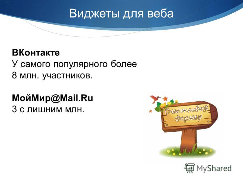 Виджеты для веба ВКонтакте У самого популярного более 8 млн. участников. МойМир@Mail.Ru 3 с лишним млн.