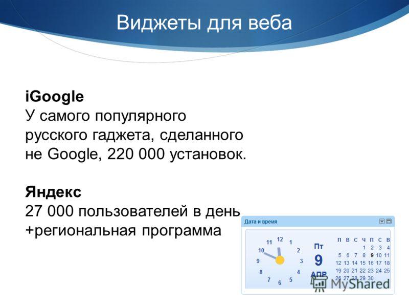 Виджеты для веба iGoogle У самого популярного русского гаджета, сделанного не Google, 220 000 установок. Яндекс 27 000 пользователей в день +региональная программа