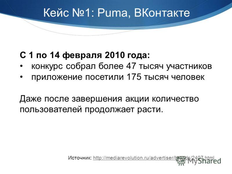 С 1 по 14 февраля 2010 года: конкурс собрал более 47 тысяч участников приложение посетили 175 тысяч человек Даже после завершения акции количество пользователей продолжает расти. Источник: http://mediarevolution.ru/advertiser/brands/2407.htmlhttp://m
