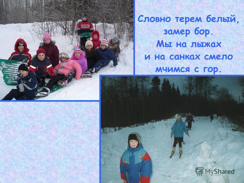 Словно терем белый, замер бор. Мы на лыжах и на санках смело мчимся с гор.