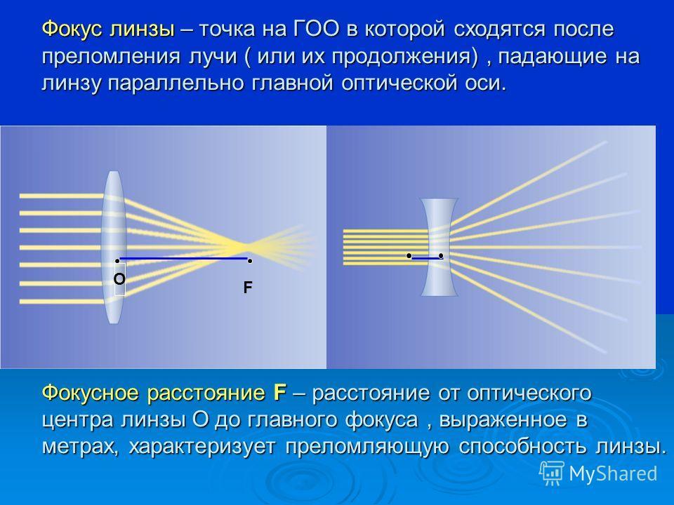 Фокус линзы – точка на ГОО в которой сходятся после преломления лучи ( или их продолжения), падающие на линзу параллельно главной оптической оси. Фокусное расстояние F – расстояние от оптического центра линзы О до главного фокуса, выраженное в метрах