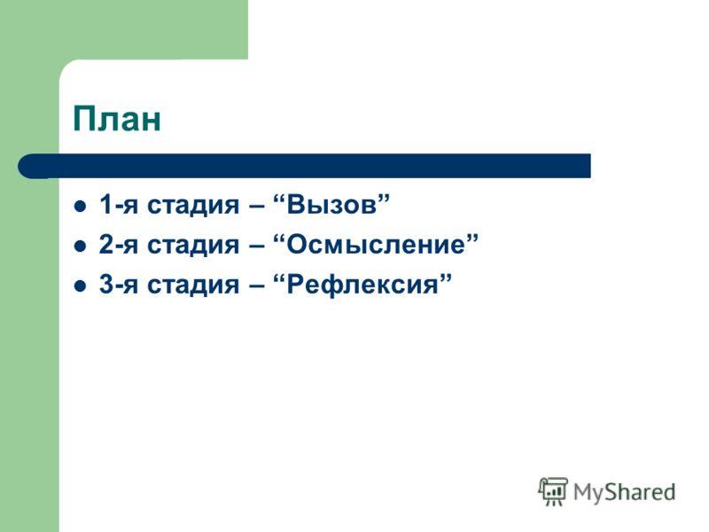 План 1-я стадия – Вызов 2-я стадия – Осмысление 3-я стадия – Рефлексия