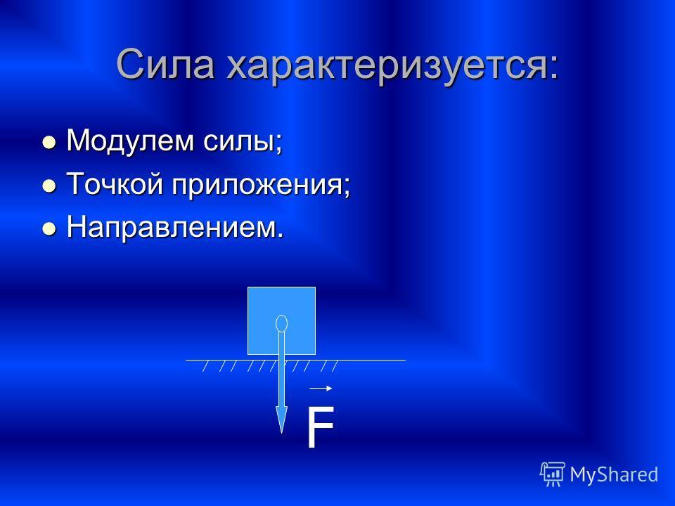 Сила характеризуется: Модулем силы; Модулем силы; Точкой приложения; Точкой приложения; Направлением. Направлением. F
