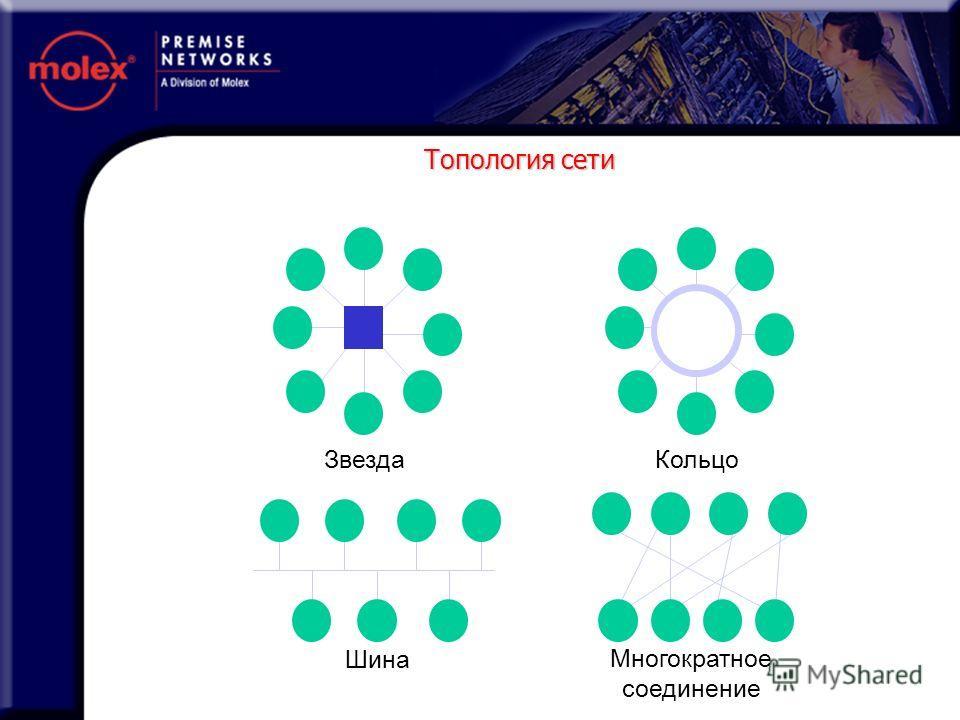Топология сети Многократное соединение КольцоЗвезда Шина