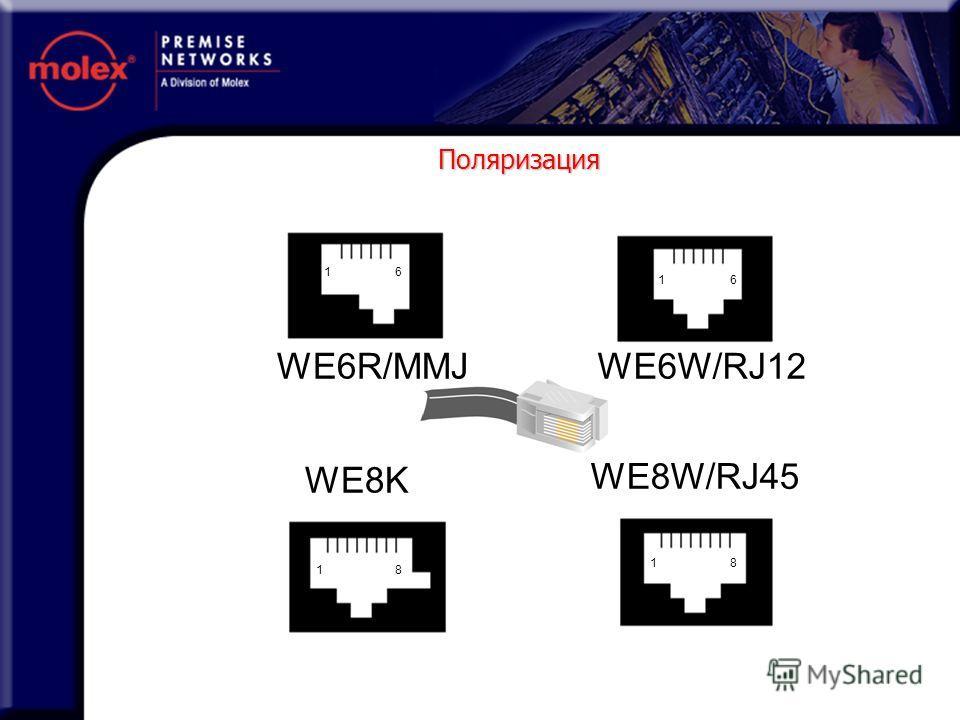 WE6R/MMJWE6W/RJ12 WE8W/RJ45 WE8K 1 1 1 1 6 6 8 8 Поляризация
