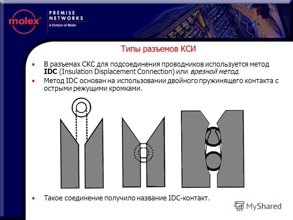 В разъемах СКС для подсоединения проводников используется метод IDC (Insulation Displacement Connection) или врезной метод. Метод IDC основан на использовании двойного пружинящего контакта с острыми режущими кромками. Такое соединение получило назван
