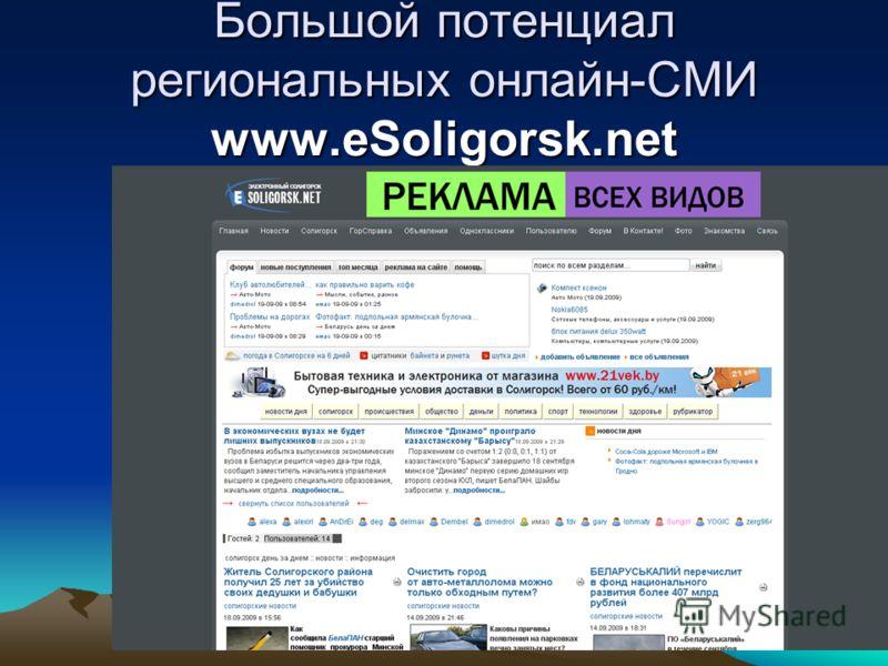 28 Большой потенциал региональных онлайн-СМИ www.eSoligorsk.net