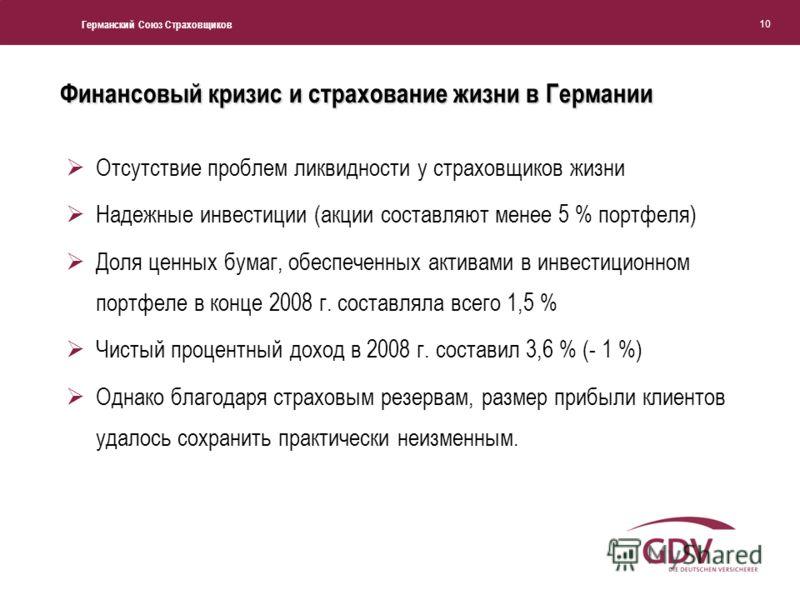 Германский Союз Страховщиков 10 Отсутствие проблем ликвидности у страховщиков жизни Надежные инвестиции (акции составляют менее 5 % портфеля) Доля ценных бумаг, обеспеченных активами в инвестиционном портфеле в конце 2008 г. составляла всего 1,5 % Чи