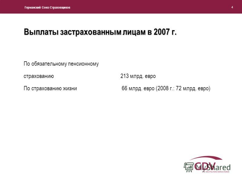 Германский Союз Страховщиков 4 Выплаты застрахованным лицам в 2007 г. По обязательному пенсионному страхованию213 млрд. евро По страхованию жизни 66 млрд. евро (2008 г.: 72 млрд. евро)
